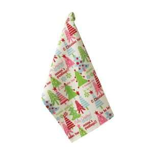 Christmas Tree Print Holiday Seasons Greetings Dish Towel