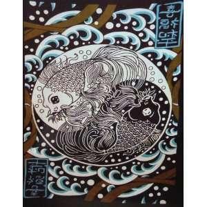 Ying Yang Koi Wall hand Tapestry & Bedspread #71