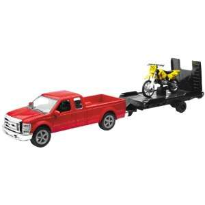 43 Scale Red Ford F250 with Trailer and Suzuki Bike 19775A Automotive