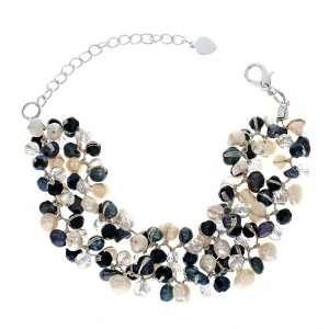 Chuvora Genuine Black and White Cultured Fresh Water Pearl