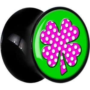 14mm  Black Acrylic Pink White Polka Dot Four Leaf Clover