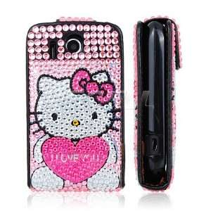 HEART LEATHER BLING FLIP CASE COVER FOR HTC EXPLORER Electronics