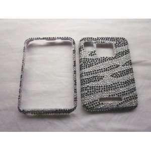 Zebra Black BLING DIAMOND COVER CASE 4 Motorola Charm