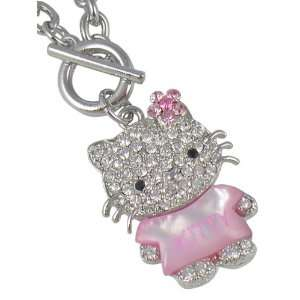 Pendant and Necklace with Pink Crystal Bow   Comes Gift Boxed Jewelry