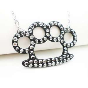 SILVER BLACK CRYSTAL BRASS KNUCKLE NECKLACE Arts, Crafts & Sewing