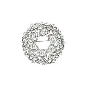 White Swarovski Crystal Wreath Brooch