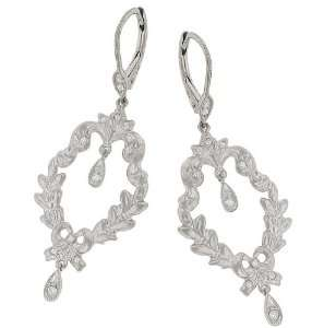 Floral Ribbon Style Round Diamond Dangle Earrings.21ct Jewelry