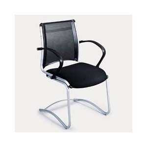 Safco(R) Tesi Mesh Leather Guest Chair, Black
