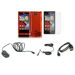 LG Lucid (Verizon) Premium Combo Pack   Orange Hard Shield Case Cover