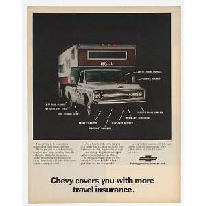 1970 Chevy Pickup Truck Camper Travel Insurance Print Ad