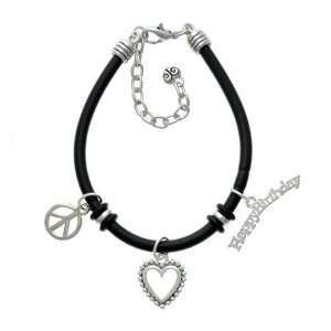 Small Happy Birthday Black Peace Love Charm Bracelet