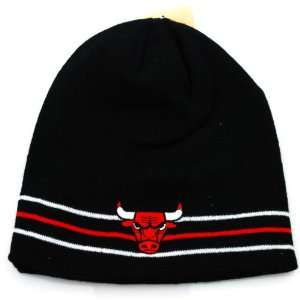 Chicago Bulls NBA Black Red and White Beanie Hat: Sports