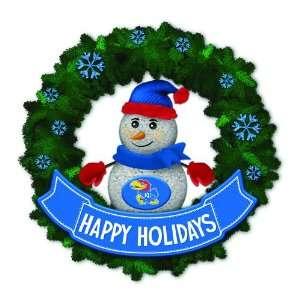 Jayhawks Lighted Snowman Artificial Christmas Wreath