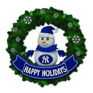 Yankees Lighted Snowman Artificial Christmas Wreath