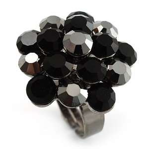 Jet Black Crystal Cluster Ring (Silver Tone) Jewelry
