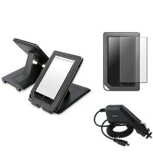 For Nook Color Black Flip Leather Case+Film+Car Charger