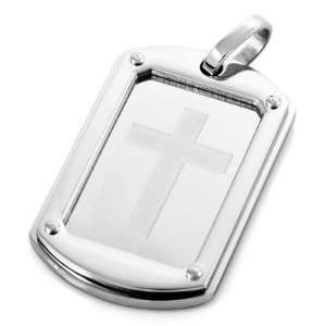 Silver Stainless Steel Rectangle Cross Punk Necklace Pendants Jewelry