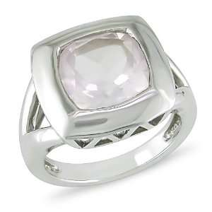 Sterling Silver Pink Quartz Cushion Cut Ring Jewelry
