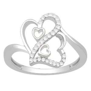 0.21ct White Diamond Sterling Silver Heart Promise Ring Jewelry