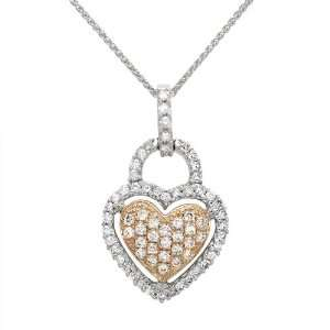 Diamond Heart Necklace in 14K Two Tone Gold, 0.50ctw Jewelry