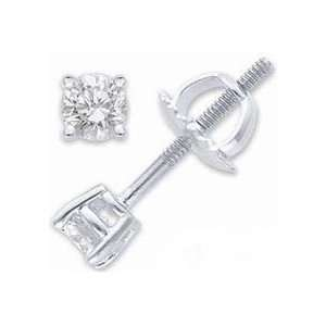 14K White Gold Round Cut Diamond Stud Earrings (0.30 TCW) Jewelry