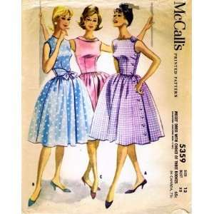 McCalls 5359 Sewing Pattern Dress Sleeveless Full Skirt