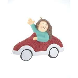 New Driver Girl   Red Car Christmas Ornament