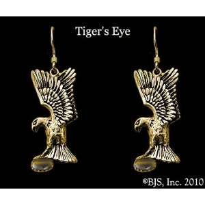 Eagle Earrings with Gem, 14k Yellow Gold, Tigers Eye set