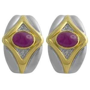 Ruby & 0.20 Diamond 14 Karat Yellow & White Gold Earrings Jewelry
