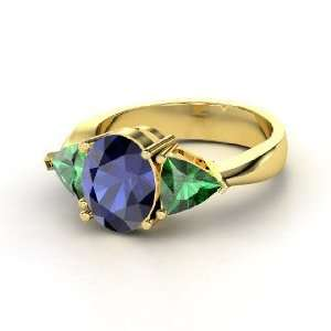 Sophia Ring, Oval Sapphire 14K Yellow Gold Ring with Emerald Jewelry