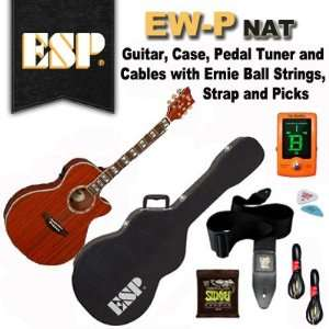 ESP EW P Acoustic Electric Guitar, Case, Pedal Tuner