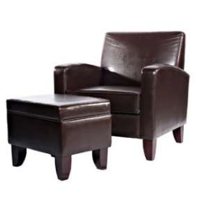 Classic Seating Brown Faux Leather Classic Lounge Chair