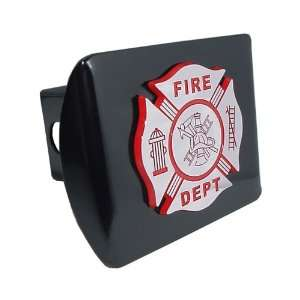 Fire Department Firefighter Black with Red & Chrome Plated Maltese