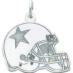 14K White Gold NFL Dallas Cowboys Football Helmet Charm