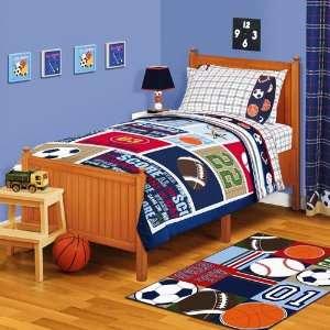 Football Soccer Baseball Blue Red Twin Comforter & Sheet Set Home