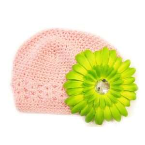 Fits 0   9 Months With a 4 Lime Green Gerbera Daisy Flower Hair Clip