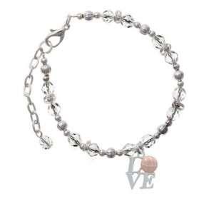 with Pink Basketball Clear Czech Glass Beaded Charm Bracelet Jewelry