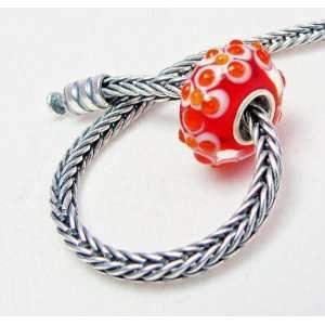 Flower Design Murano Glass Bead Charm Fits Pandora Bracelet Jewelry