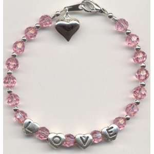 Light Rose Swarovski Crystal Love Bracelet with Heart