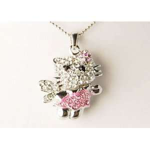 Hello Pink Girly Clear Rhinestones Fairy Magic Wand Kitty Cat Pendant