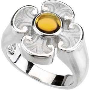 Citrine Maltese Cross Ring set in Heavy 14 kt White Gold(4.5) Jewelry