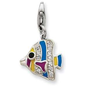 Sterling Silver Multi colored Enameled Fish Charm Jewelry