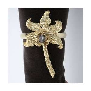 LObjet Gold Plated Orchid Napkin Rings, Yellow Swarovski