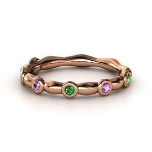French Knot Band, 14K Rose Gold Ring with Emerald & Amethyst Jewelry