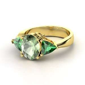 Sophia Ring, Oval Green Amethyst 14K Yellow Gold Ring with
