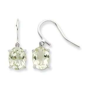 Sterling Silver Rhodium Green Amethyst Wire Earrings