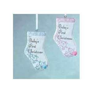 Babys 1st Christmas Set of 2 Stockings Pink & Blue  Home
