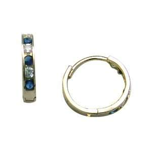 Blue & Clear CZ Thin Band 14K Yellow Gold Huggie Earrings Jewelry