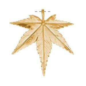 Matte 16KT Gold Plated Japanese Maple Leaf 54mm (1): Arts