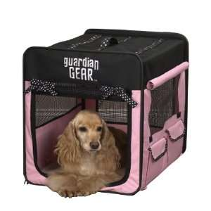 Polyester Polka Dot Collapsible Dog Crate, X Large, Pink